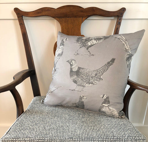 Fabulous British Cotton/Linen Game Bird Pillow with Contrasting Back (New) for sale