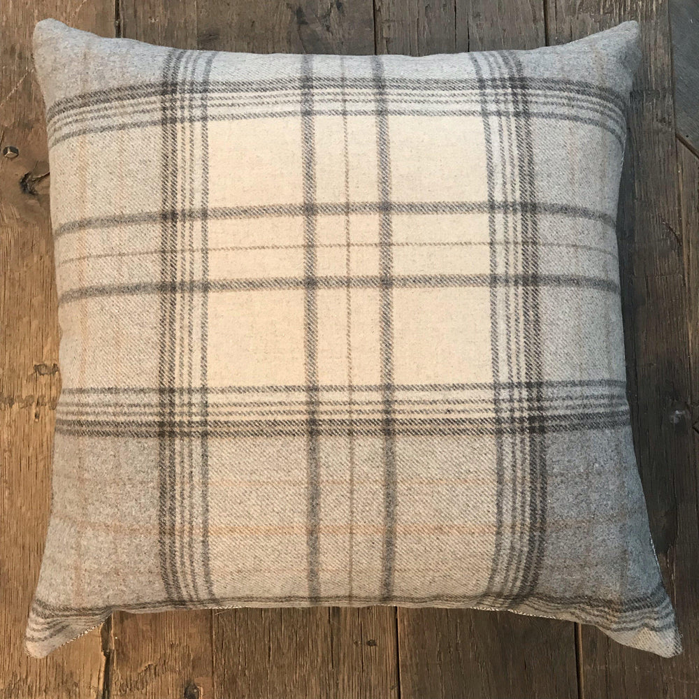British Traditional Wool Tartan Plaid Pillow with herringbone back for alternate look for sale