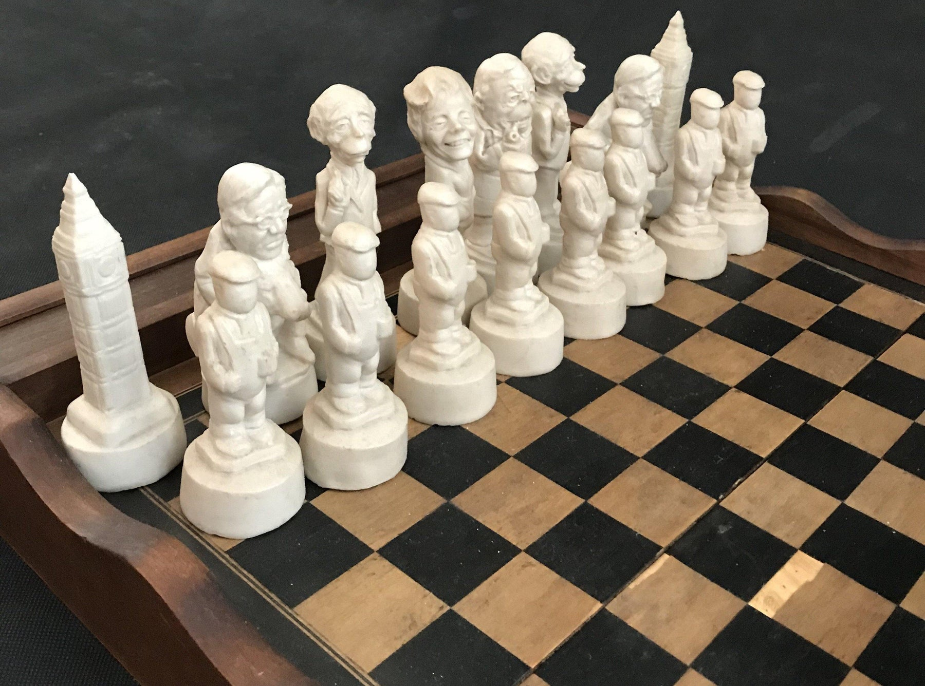 British Chess Set of Political figures including Big Ben and Margaret Thatcher for sale