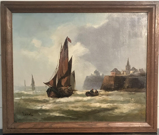 Antique French Oil Painting French Nautical Scene of Schooners/Boats near a Cliffside Village