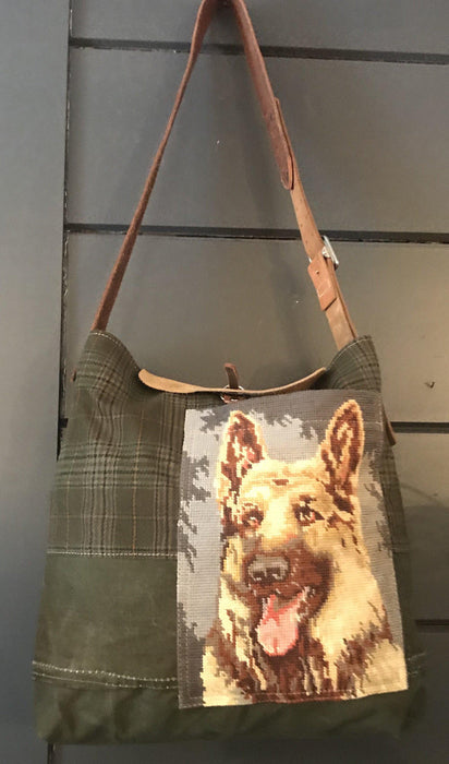 For sale: British Hunting Plaid Bag/Purse with embroidered German Shepherd dog