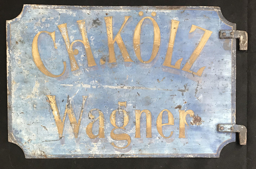 beautiful two-sided sign is solid metal and the blue has a wonderful patina for sale