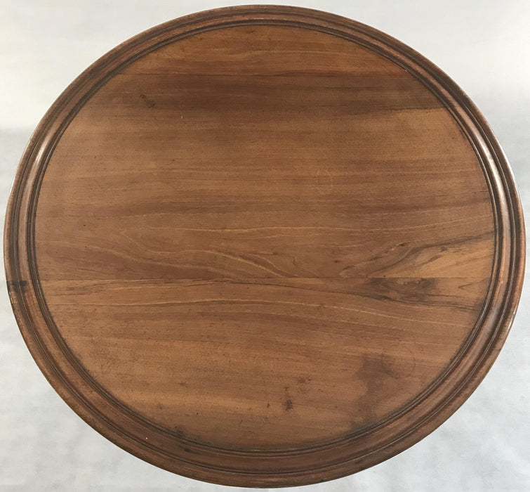 Round Walnut French Side Tilt Top Table