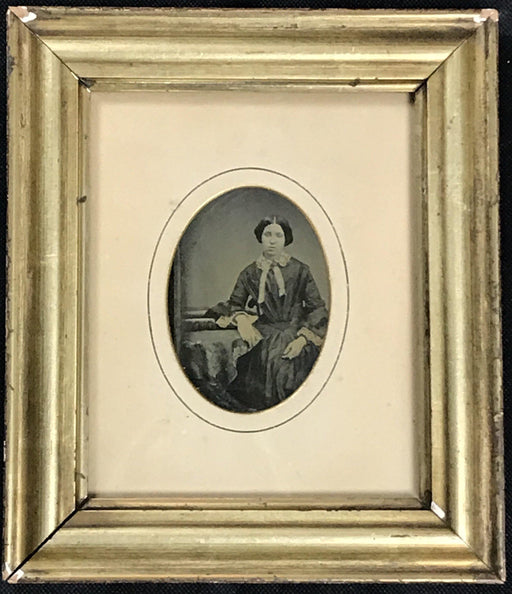Early Photograph Daguerrotype of a Woman in a Lemon Gold Frame