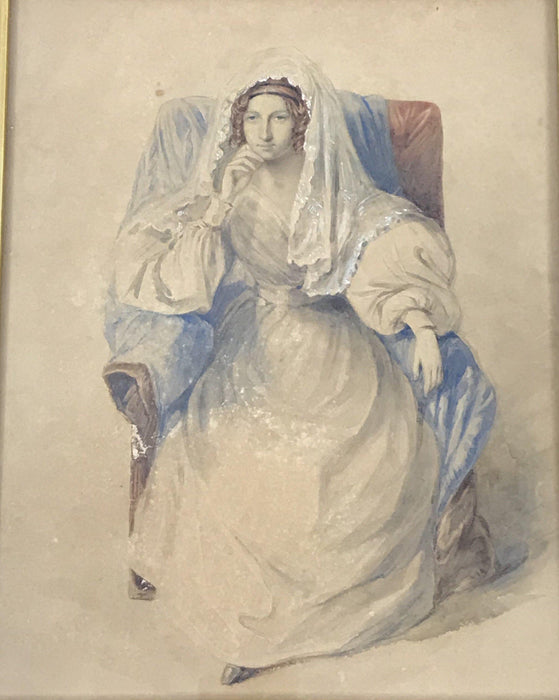 British Large Watercolor Woman Seated