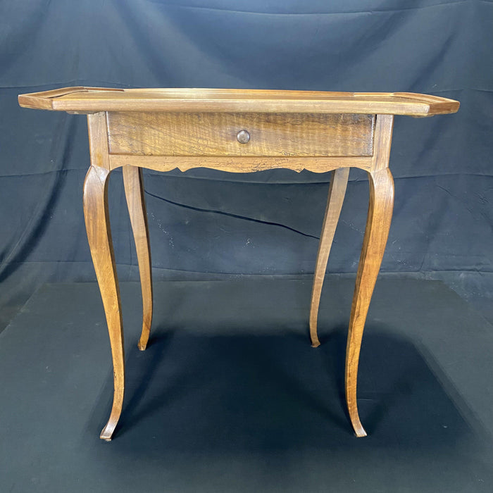 Period French Louis XV Walnut Side Table with Lovely Raised Gallery