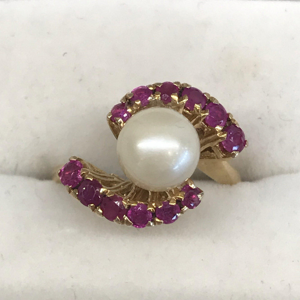 Ruby and pearl ring from Italy for sale