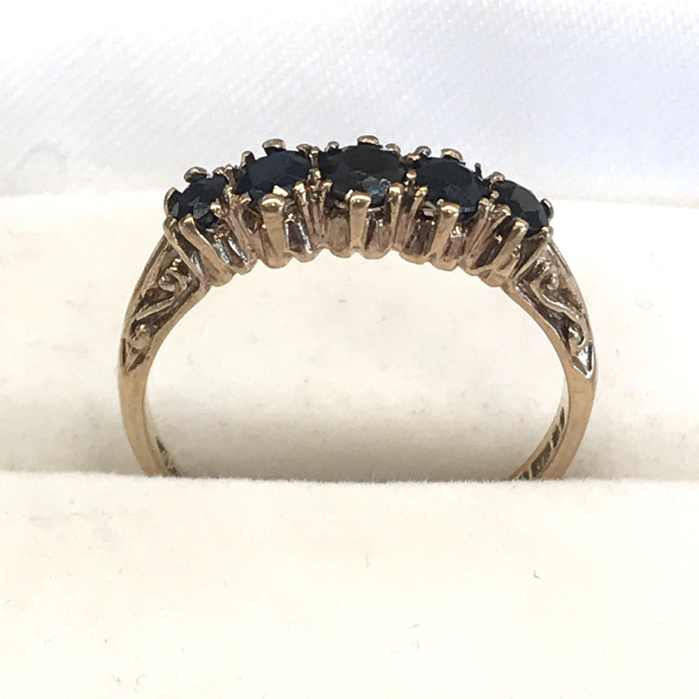 British Gold Ring with Five Sapphires