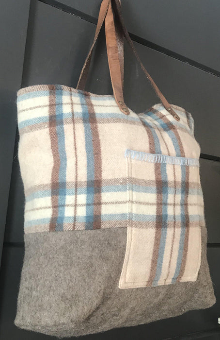 Antique Beautiful British Wool Plaid Purse/Bag with Leather Bridle Straps to sell