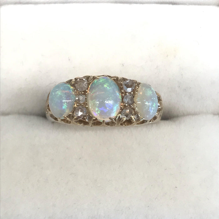Fiery British Opal 18k Gold Ring with Rose Cut Diamonds