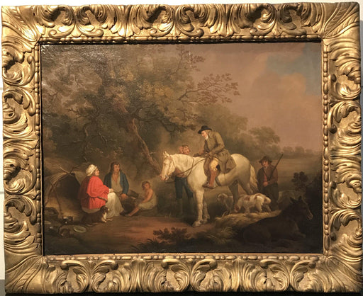 Important British Geo. Moreland/Thomas Hand Hunting Scene Oil Painting for sale
