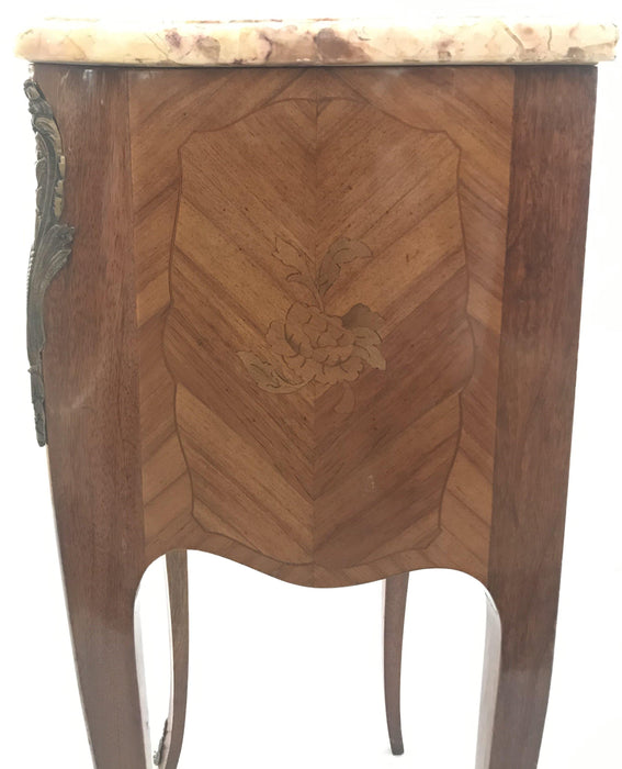 Unique Pair of French Inlaid Two-Drawer Marble Top Nightstands For Sale