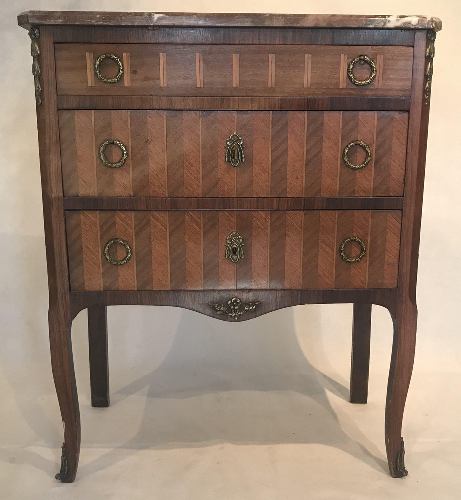 For Sale: French Inlaid Marquetry Three-Drawer Commode with Marble Top