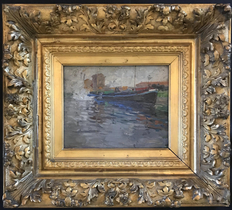 Nautical Impressionist Oil Painting by French listed artist E. Godfrinon 1878-1927 (1922) for sale