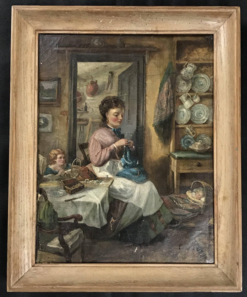 Primitive Oil Painting Domestic Scene, Early 19th Century Signed for sale