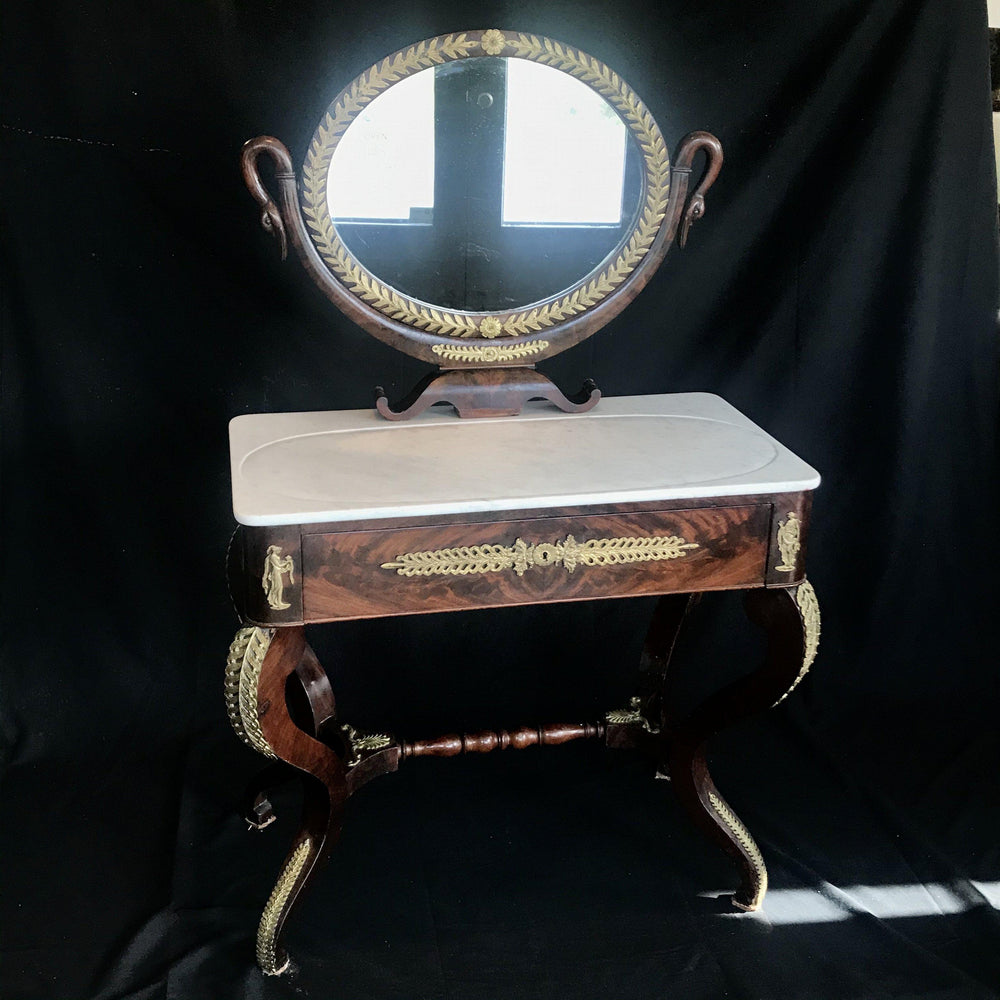 19th Century French Empire Neoclassical Mahogany Dressing Table with Carrera Marble Top