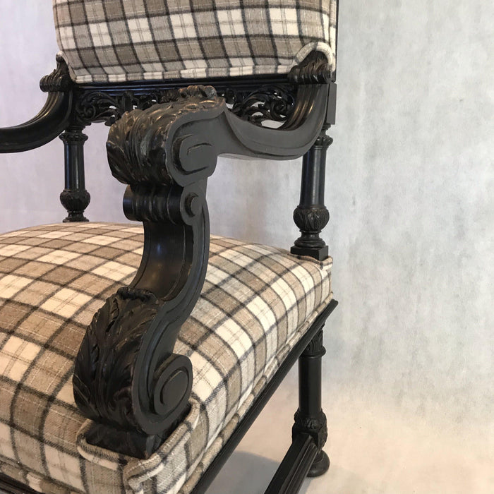 tartan pair french carved chairs