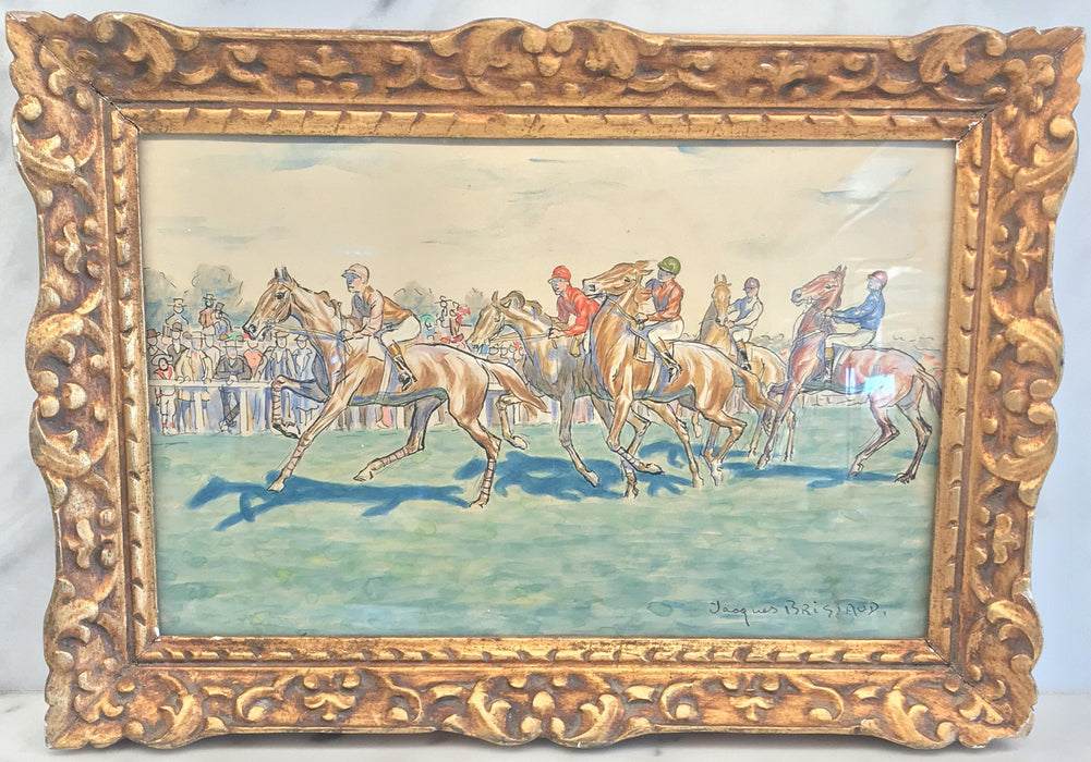 French Painting of a Horse Race by Jacques Brissaud (1880-1960)