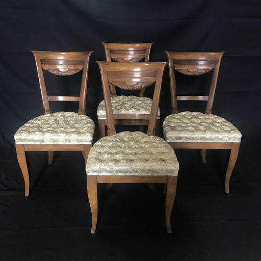 Set of Four Midcentury French Walnut Dining or Side Chairs with Tufted Seats