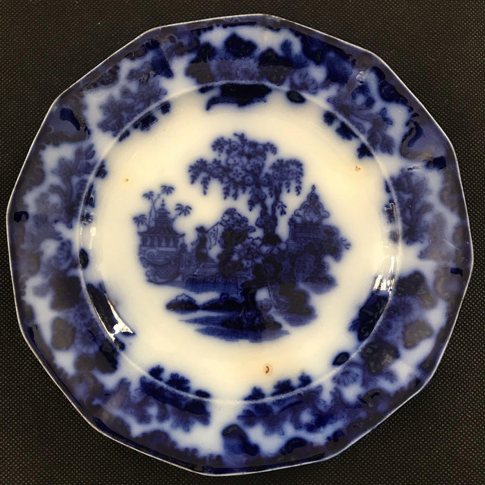 British Antique Ironstone Blue and White Early Plate: Scinde Pattern Oriental Stoneware