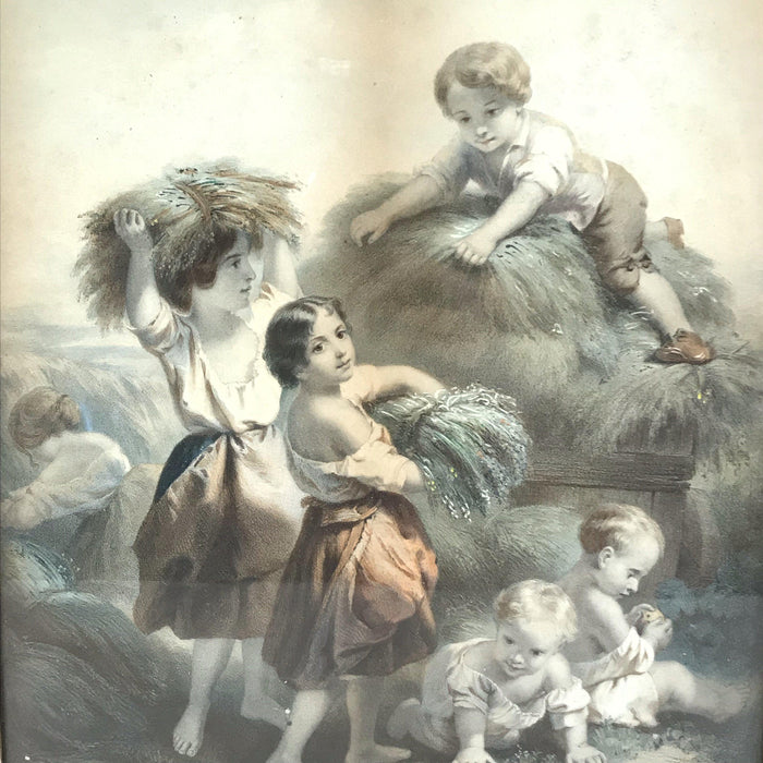 Buy this beautiful Early French Haying Scene with Children in Lemon Gold Frame