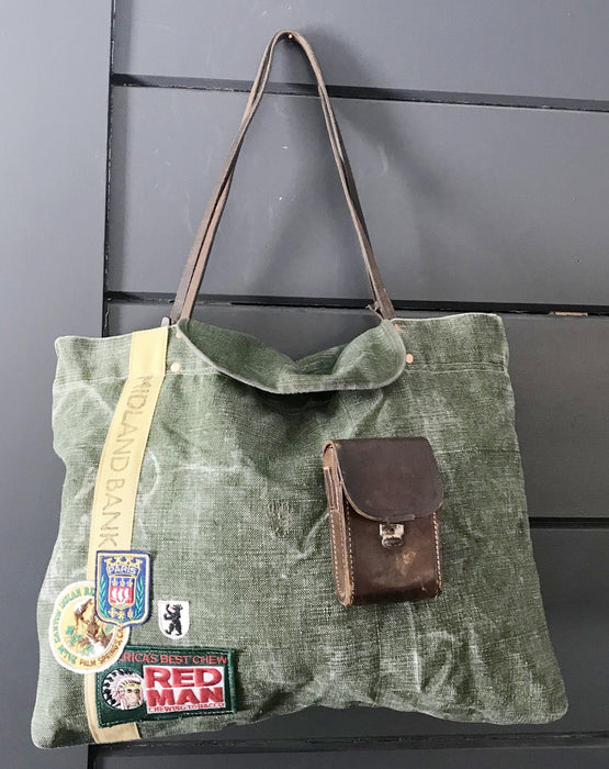 British Military Duffle/Midland Bank Bag with Vintage Camera Case Pocket, Bridle Reins and British Patches to buy