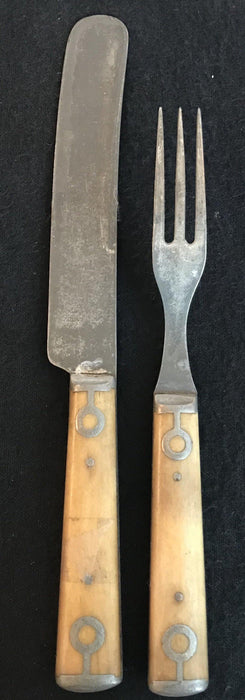 Bone Fork and Knife Set from England - for sale; antique