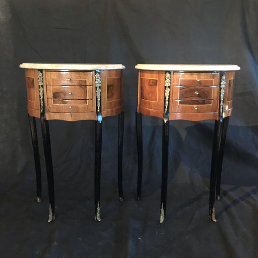 Pair of Marble Top French Ebony and Walnut 3-Drawer Nightstands or Side Tables