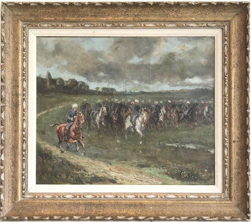 Early French Impressionist Oil Painting of Advancing Equestrian Army