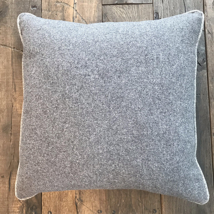 Beautiful British Traditional Gray Wool Flannel Pillow with Light Gray Contrasting Piping (New) to buy