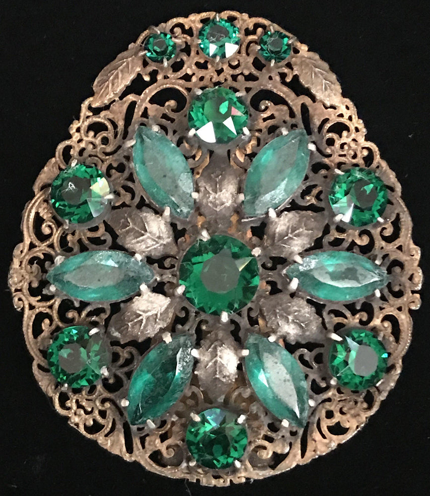 Edwardian Dress Clip with Green Stones for sale