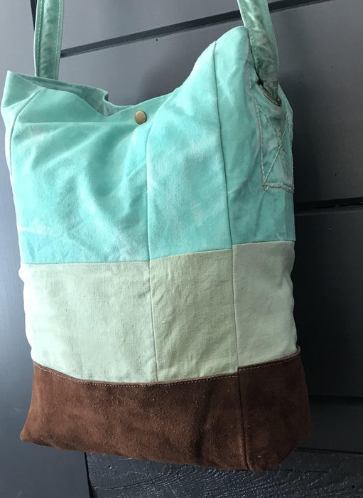 London British Artist-made Bag/Purse of vintage turquoise canvas tarpaulin with original handles for sale