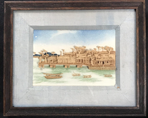 British carved cork nautical landscape art framed