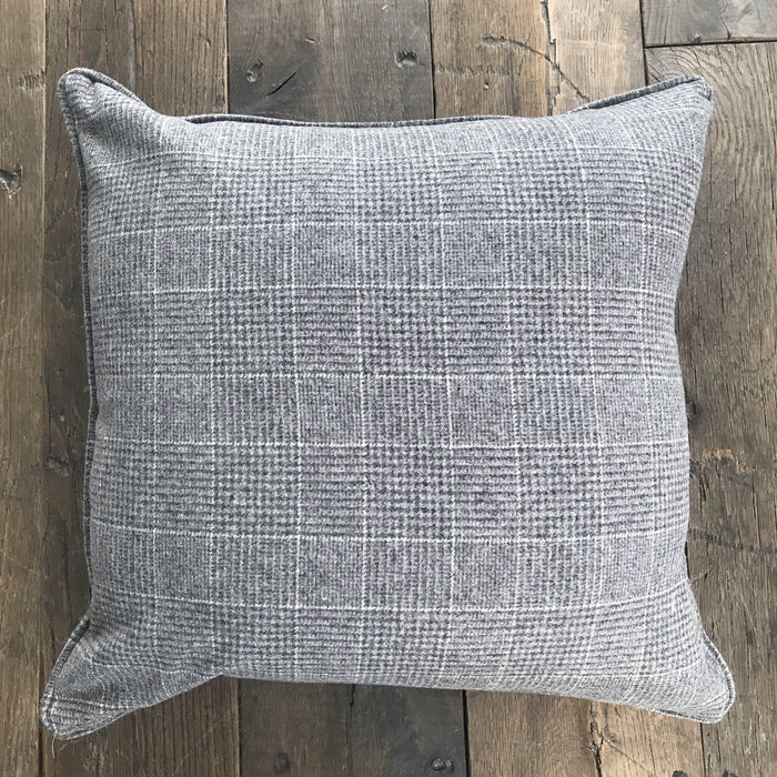 British Traditional Gray Plaid Pillow with Gray Flannel on back
