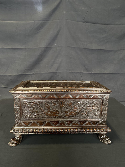 Large French Period 18th Century Heavily Carved Renaissance Casket or Bible Box