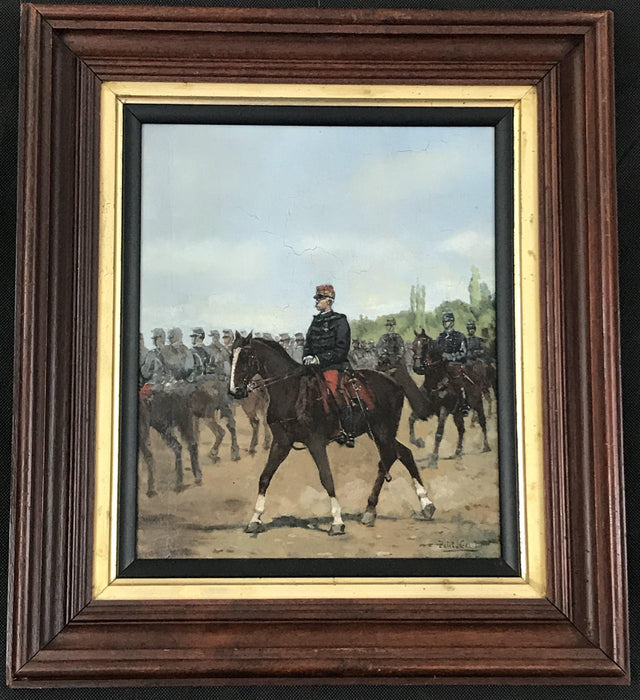 French Oil Painting: Mounted Horsemen by Pierre Peti-Gerard  (1852-1933)