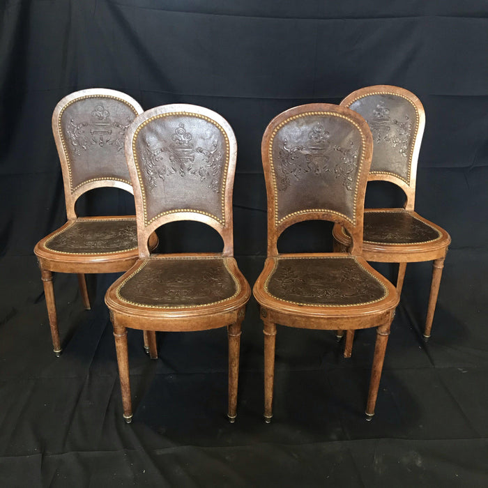 Set of Four French Burled Walnut Pressed-Back Leather Chairs with Original Tacks and Bronze Florets
