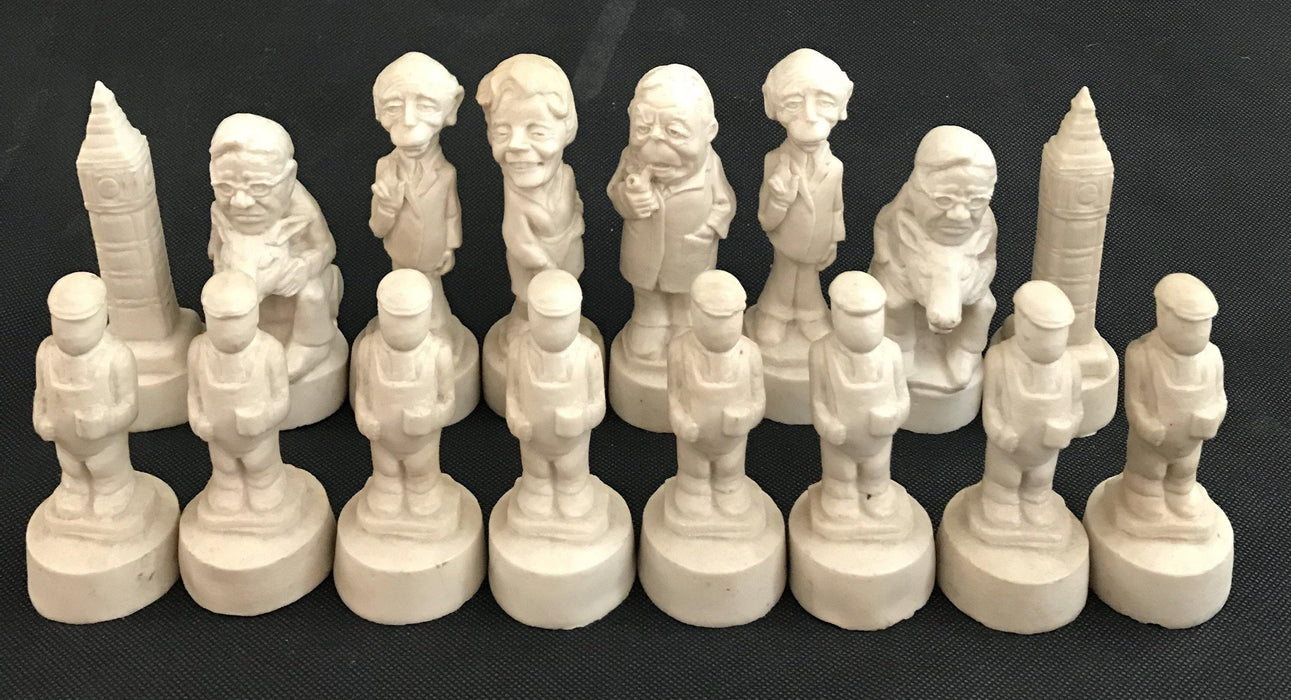 Wonderful British Chess Set of Political figures including Big Ben and Margaret Thatcher to sell