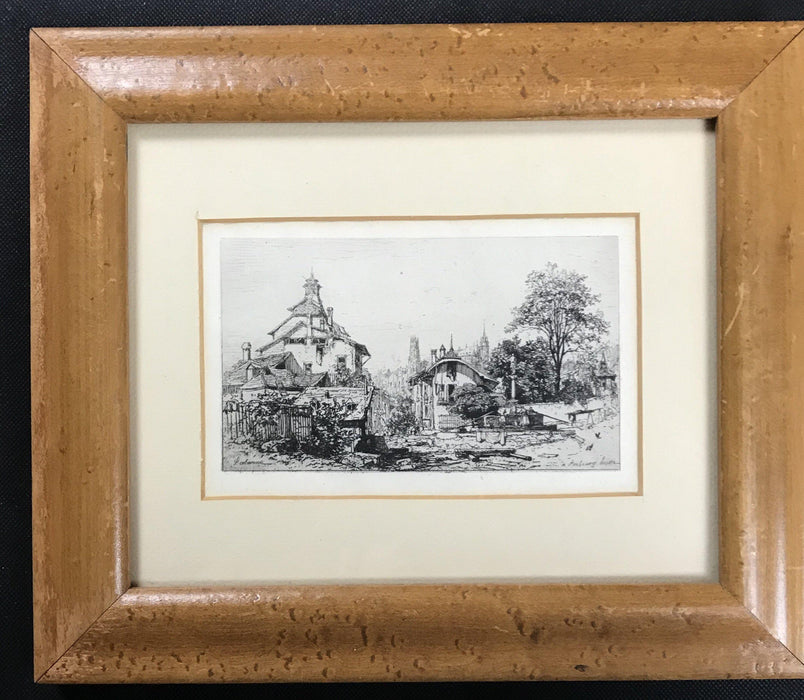 Early Artist Engraving of Fribourg Switzerland Scene to sell
