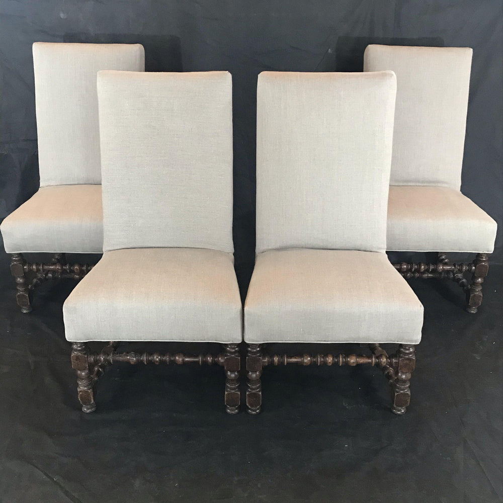 Period French Louis XIV Set of four Walnut Louis XIV Side or Dining Chairs Newly Upholstered