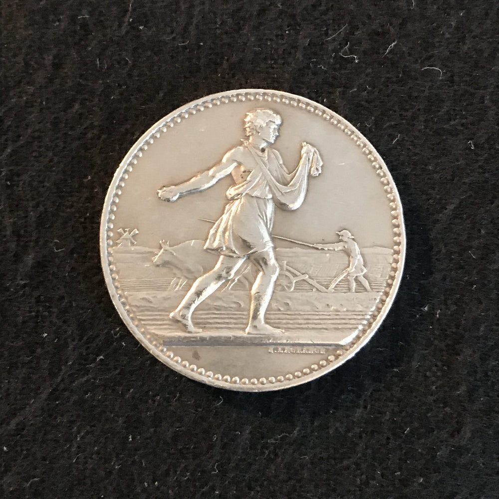 Silver French Medal: Comice Agricole (Agricultural Show) De L'Arrondt De Nevers Pougues 1901 For Sale