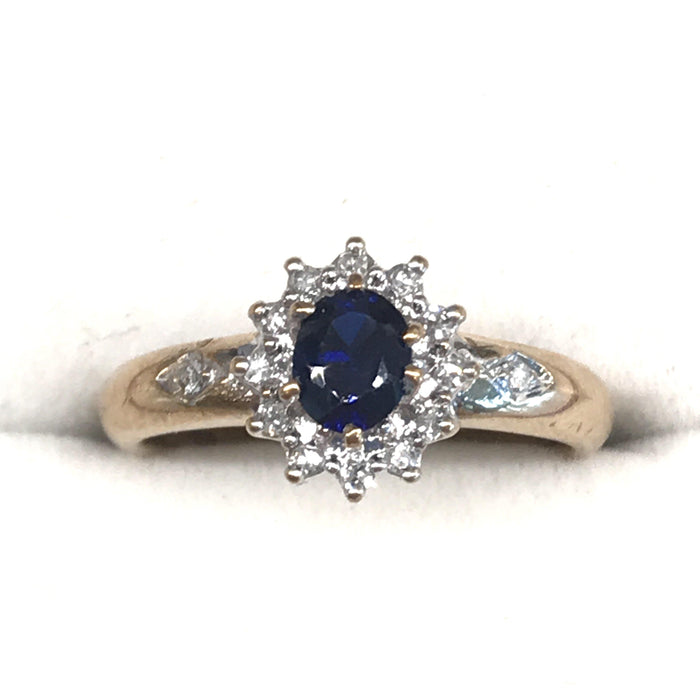 "Classic ""Lady Di Style"" Diamond and Sapphire Ring from England"