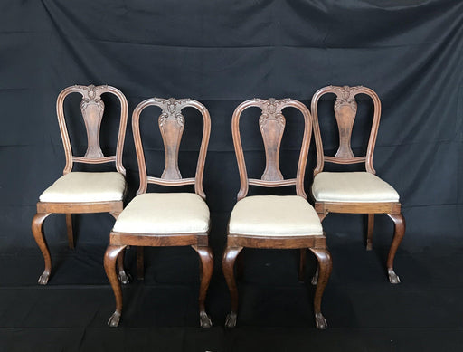 Set of Four Carved Walnut English Chairs with Ball and Claw Feet