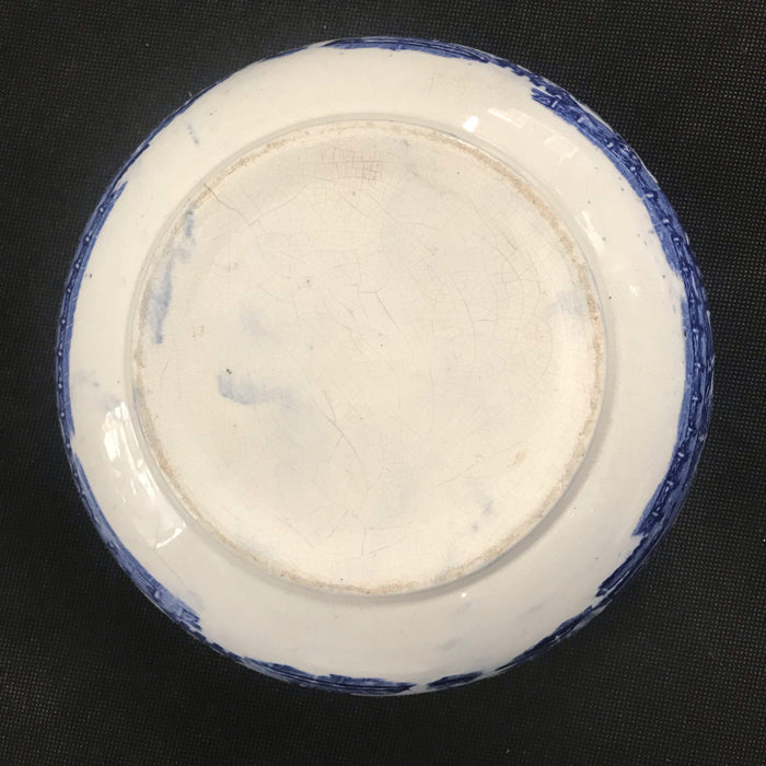 Unmarked bottom on Early British Blue and White Bowl for sale
