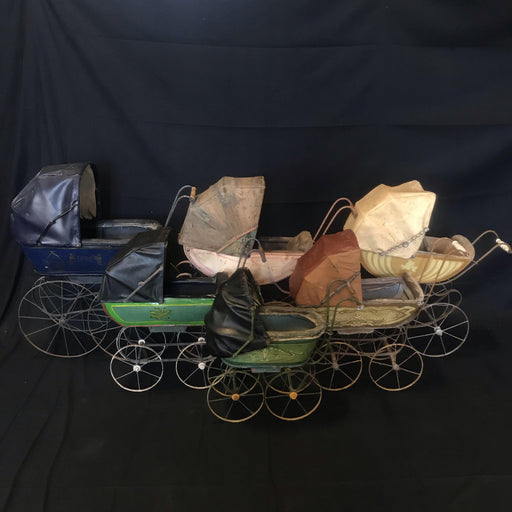 Set of Six 19th Century French Antique Doll Carriages Bought in the South of France