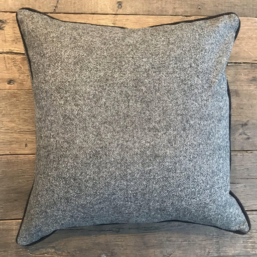 British Traditional Gray Wool Herringbone Pillow with Black Contrast Piping for sale