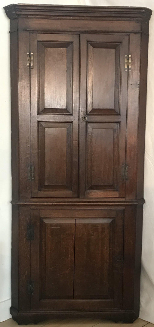 Early British George III Oak Double Corner Cupboard