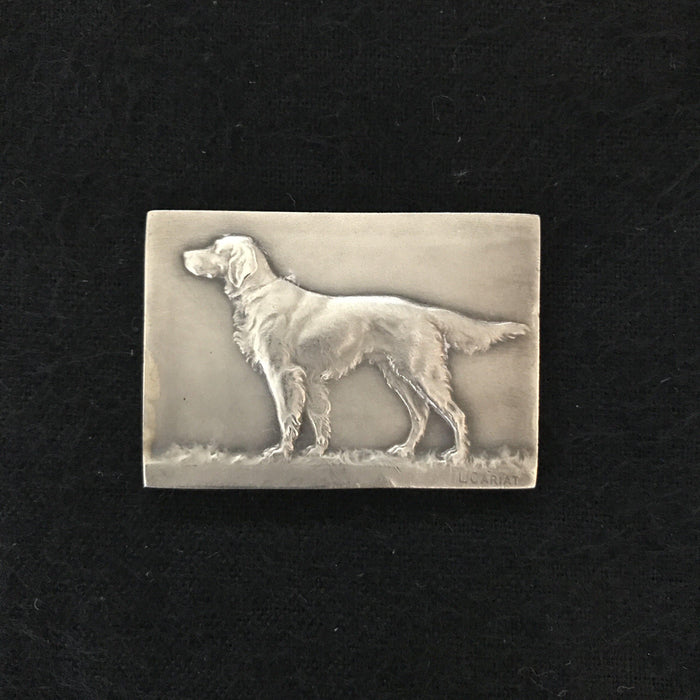 French dog medal silver for sale Signed French Dog Medal: Silver showing Retriever/Setter