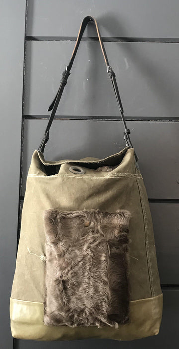 Purse/Bag: RAF Military Kit Bag, Bridle leather handle, leather bottom and fur pocket for sale