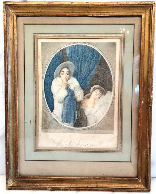 "for sale: Engraving ""Le Pierrot"", Commedia del Arte Gravure circa 1790"
